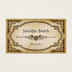 Bartender - Elegant Vintage Antique Business Card at Zazzle