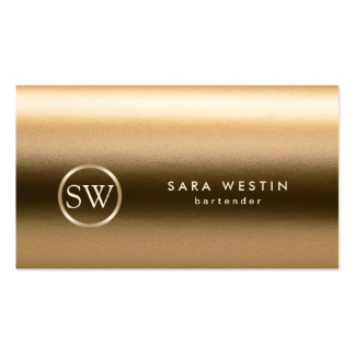 Bartender Gold Monogram Texture Business Card