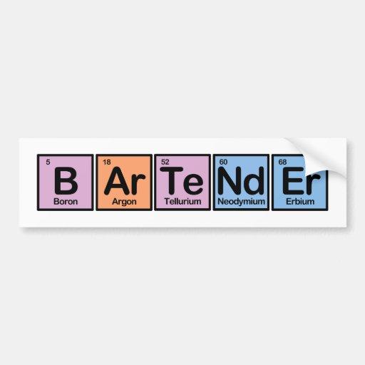 Bartender made of Elements Bumper Sticker