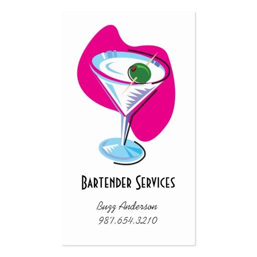 bartender martini glass_fuchsia business cards
