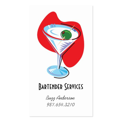 Bartender Martini Glass_red Business Card Template