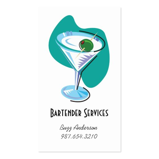 bartender martini glass_teal business card template