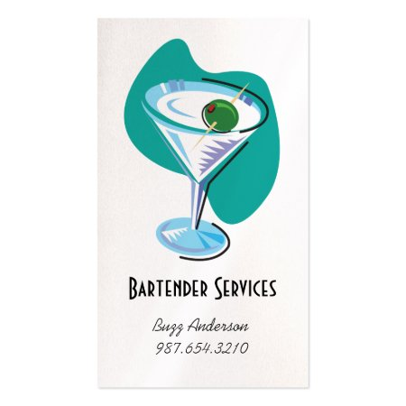 Teal and White Martini Glass Bartender Services Business Cards