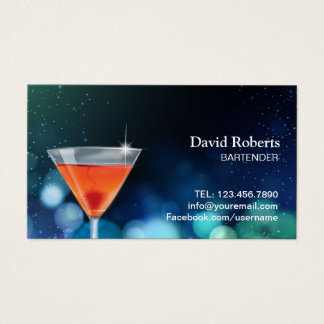 Bartender Nightclub Cocktail Bar Modern Business Card