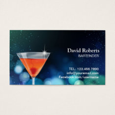 Bartender Nightclub Cocktail Bar Modern Business Card at Zazzle
