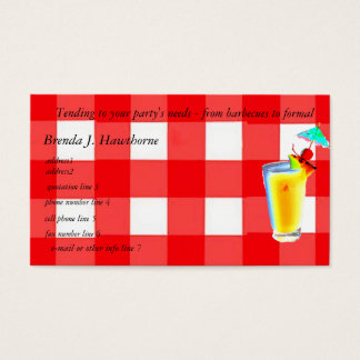Bartender or Party Planner Business Card