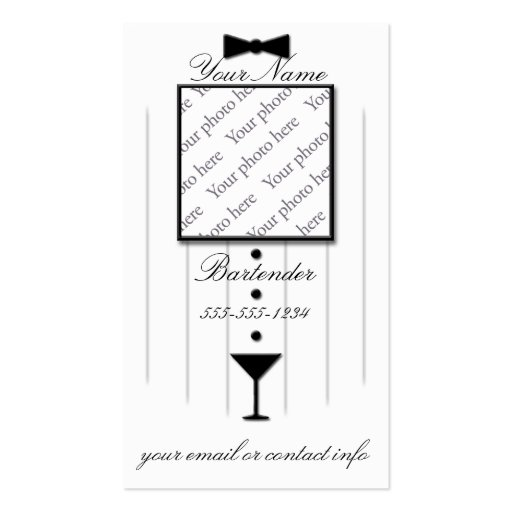 Bartender Photo Business Cards Black Tie