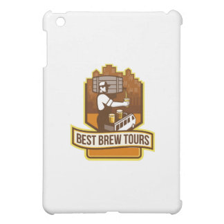 Bartender Pouring Beer Keg Cityscape Crest Retro Case For The iPad Mini