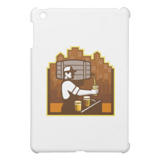 Bartender Pouring Beer Keg Cityscape Retro Cover For The iPad Mini
