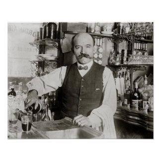 Bartender Pouring Drink, 1910. Vintage Photo Poster