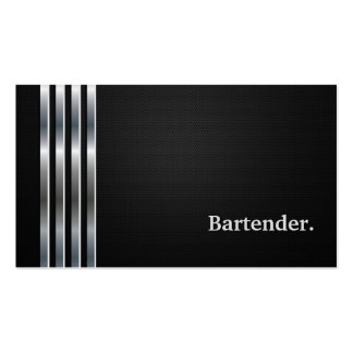 Bartender Professional Black Silver Double-Sided Standard Business Cards (Pack Of 100)
