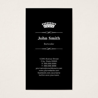 Bartender Simple Elegant Royal Crown Business Card