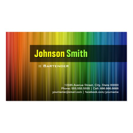 Stylish Colorful Spectrum Colours Vertical Lines Bartender Business Cards