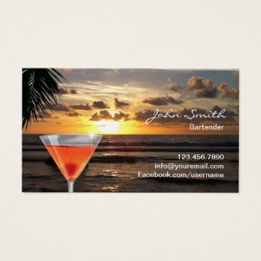 Beach Themed Bartender Tropical Sunset Beach Cocktail Business Card