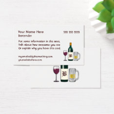Bartender White Business Card at Zazzle