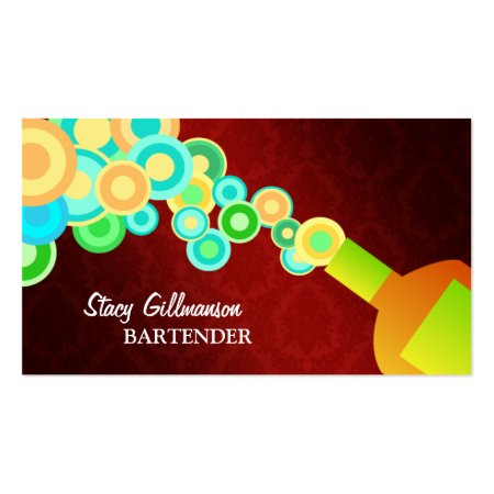Colorful Retro Circles and Liquor Bottle with Dark Red Background Bartender Profile Cards