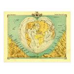 Bartholomew Heart Shaped Post Card World Map