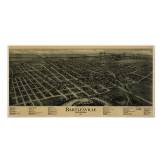 Bartlesville Oklahoma 1917 Antique Panoramic Map Poster