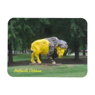 Bartlesville,Oklahoma bison statue Rectangle Magnets