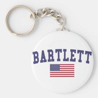 Bartlett IL US Flag Basic Round Button Keychain