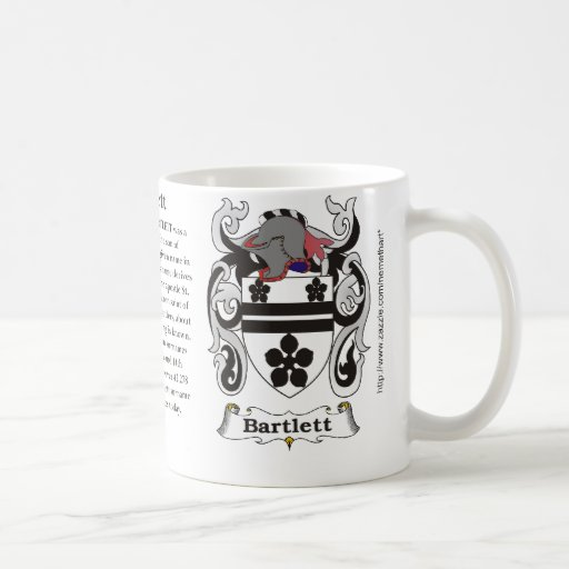 Bartlett, the origin, meaning and the crest coffee mugs