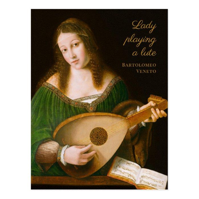 Bartolomeo Veneto Lady playing a lute CC1160 Postcard