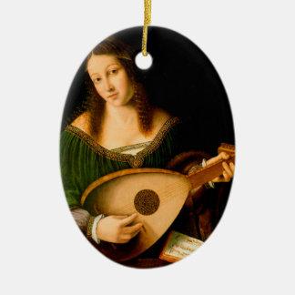 Bartolomeo Veneto Lady Playing Lute Portrait Art Ceramic Ornament