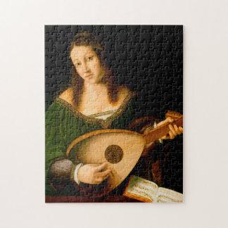 Bartolomeo Veneto Lady Playing Lute Portrait Art Jigsaw Puzzle