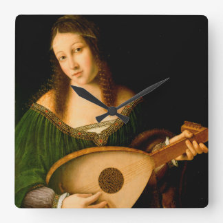 Bartolomeo Veneto Lady Playing Lute Portrait Art Square Wall Clock