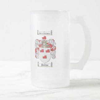BARTON FAMILY CREST -  BARTON COAT OF ARMS FROSTED GLASS BEER MUG