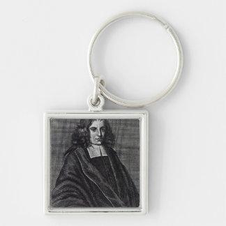 Baruch de Spinoza Llavero Cuadrado Plateado