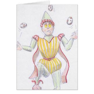 Baryon Quark Cartoon Medieval Baron Juggling Greeting Card