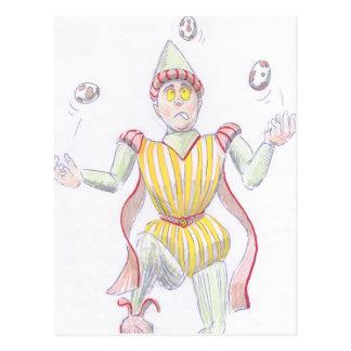 Baryon Quark Cartoon Medieval Baron Juggling Post Card