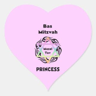 Bas Mitzvah Princess Heart Sticker