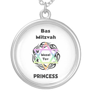 Bas Mitzvah Princess Silver Plated Necklace