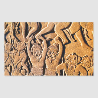 Bas-relief Angkor Wat Cambodia Rectangular Sticker