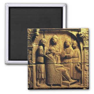 Bas relief of a hairdresser, Roman 2 Inch Square Magnet
