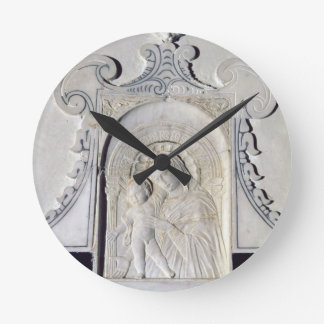 Bas-relief of a Madonna and Child (marble) Round Clock
