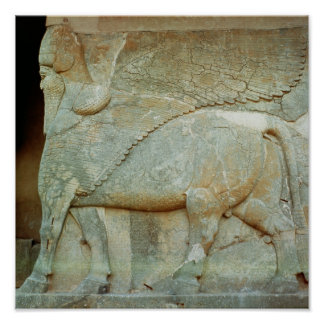 Bas-relief of an anthropomorphic bull print