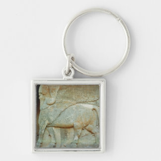 Bas-relief of an anthropomorphic bull Silver-Colored square keychain