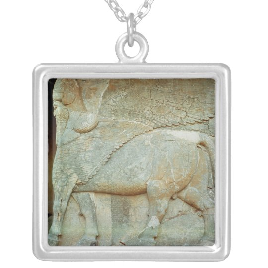 Bas-relief of an anthropomorphic bull silver plated necklace