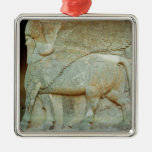 Bas-relief of an anthropomorphic bull square metal christmas ornament