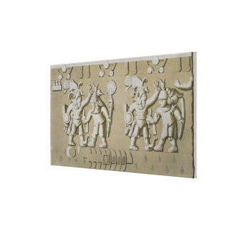 Bas Relief of Ancient Aztec Warriors, from The Sto Canvas Print