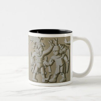 Bas Relief of Ancient Aztec Warriors, from The Sto Two-Tone Coffee Mug