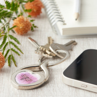 Basal and Squamous cell Carcinoma Awareness Ribbon Silver-Colored Heart-Shaped Metal Keychain
