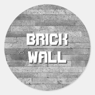 Basalt brick wall classic round sticker