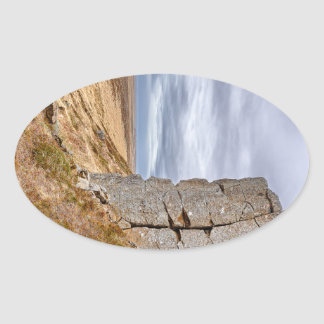 Basalt columns in Gerduberg Iceland Oval Sticker