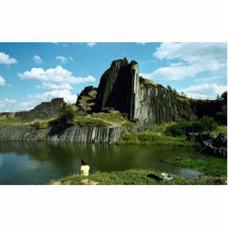 Basalt rock formation, Devil's Wall, Czech Republi Standing Photo Sculpture