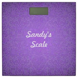 Báscula de baño floral púrpura