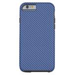 Base azul de la fibra de carbono de Kevlar Funda De iPhone 6 Tough